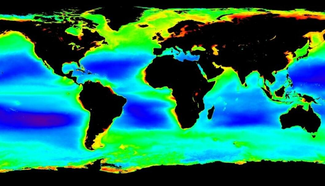 Produktiviteten i havet varierer enormt, viser kartet. I de røde områdene er det flere hundre ganger mer planteplankton per kubikkmeter vann, enn i de mørkblå områdene. (Klikk på forstørrelsesglasset for å se kartet stort.) (NASA Ocean Color)