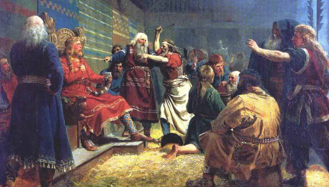 Her blir Håkon den Gode tvunget til å drikke øl av horn og spise hestelever i juleblotet på Mære.