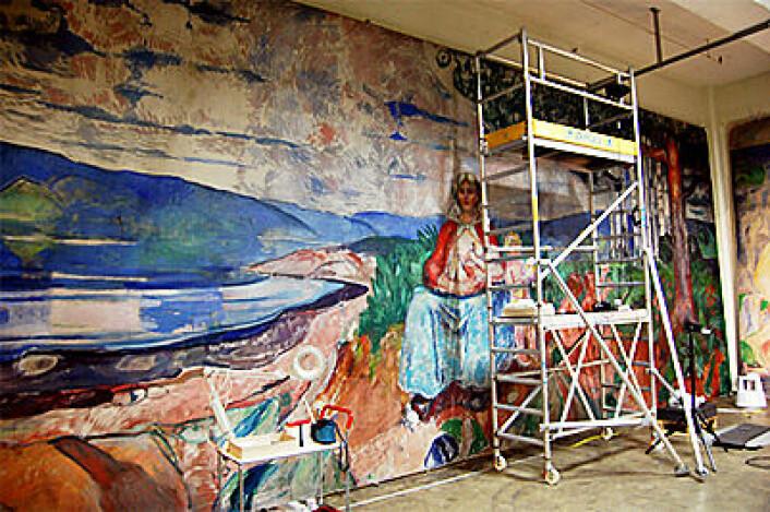 """Munchs """"Alma Mater"""" i ny fargeglød etter rensing. (Foto: Olaf Christensen og Karen Mengshoel)"""