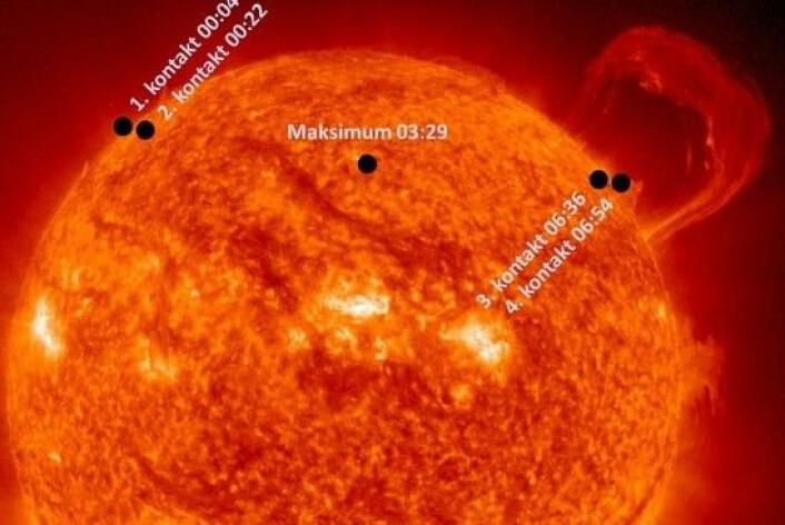 En svart prikk over Sola er kanskje ikke visuelt spektakulært, men venuspassasjen bidro i sin tid til at vi fant vår plass i universet. (Foto: NASA, Montasje: astroevents.no / Knut Jørgen Røed Ødegaard)