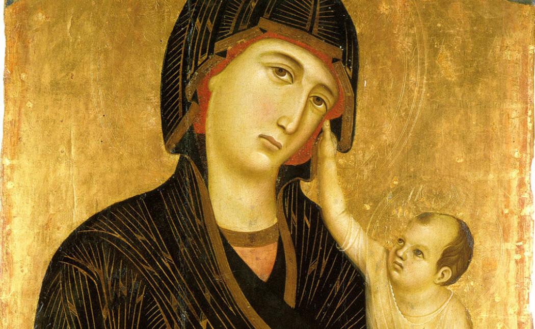 Maria og Jesus, slik kunstneren Duccio di Buoninsegna så dem for seg i 1283.