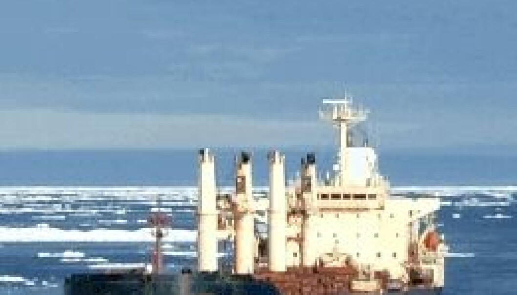 """M/V """"Nordic Barents"""" på vei fra Kirkenes gjennom nordøstpassasjen til Kina. Tschudi Shipping"""
