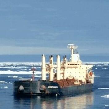 """M/V """"Nordic Barents"""" på vei fra Kirkenes gjennom nordøstpassasjen til Kina. (Foto: Tschudi Shipping)"""