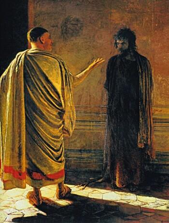 «Hva er sannhet?», bilde av Pilatus og Jesus malt av Nikolai Ge i 1890. Pilatus er i kristendommen mest kjent for å ha vasket hendene sine («toet sine hender») da Jesus ble dømt til døden.