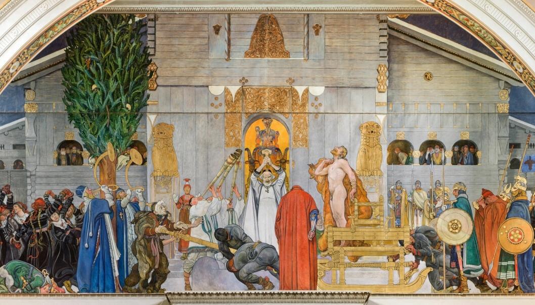 Dette maleriet av Carl Larsson fremstiller kongen Domalde som til slutt lar seg selv ofre på vinterblotet etter en rekke uår i Uppsala.
