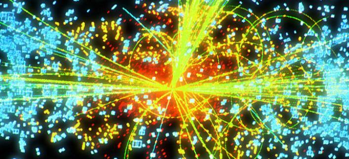Denne datasimuleringen viser hvordan Higgs-bosonet eventuelt kan komme fram i en av detektorene til LHC. Higgs-bosonet brytes ned i to stråler av andre elementærpartikler (gule linjer). (Foto: (Figur: Cern))