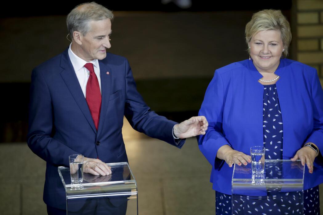 AP-leder Jonas Gahr Støre og statsminister Erna Solberg (H) på Stortinget under partilederdebatten før kommune- og fylkestingsvalget 2019.