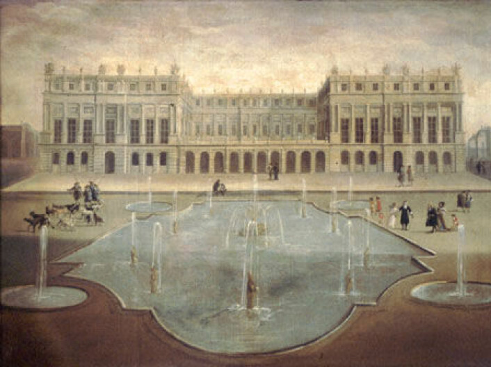 Sydfasaden av Versailles, 1675. (Foto: (Maleri: Ukj. fransk maler, Wikimedia Commons))
