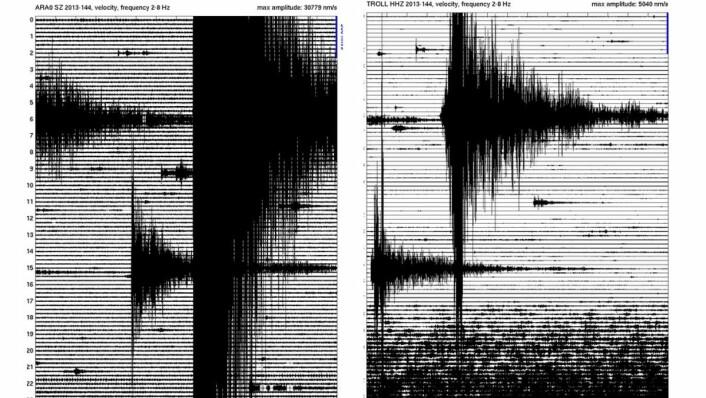 Eit jordskjelv i Stillehavet 24 mai i år vart plukka opp verda over. Bileta viser målingar frå seismisk stasjon i Finnmark (til høgre) og Troll-stasjonen på Antarktis til venstre. (Foto: Norsar)