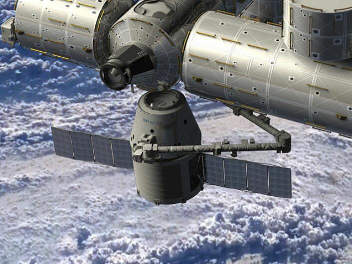 Slik vil SpaceX Dragon-romskipet kobles til Den internasjonale romstasjonen (Illustrasjon: NASA)