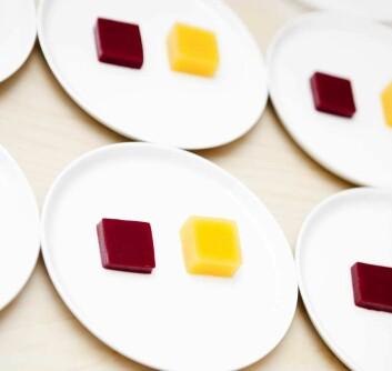 Kva med ein gul gelé som smaker raudbete? Eller kva med raud gelé som smaker sennep? Matopplevingar med overraskingar er ein trend. (Foto: Elisabeth Tønnessen)