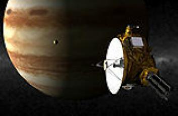 """""""New Horizons passerer Jupiter i slutten av februar 2007. Illustrasjon: NASA"""""""