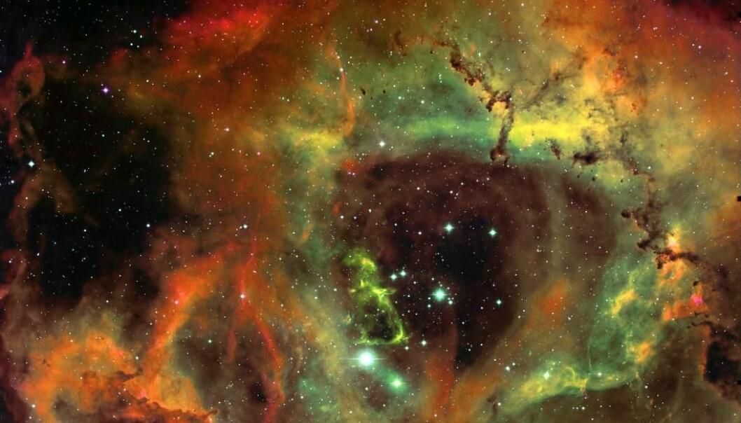 I Rosette-stjernetåka finnes det små skyer - globuletter - som antageligvis kommer til å bli til planeter i det fri. T.A. Rector/B. Wolpa/M. Hanna/AURA/NOAO/NSF