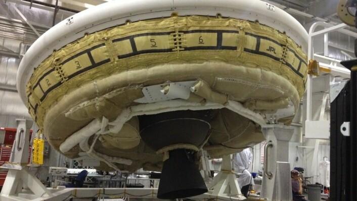 LDSD ligner litt på en blanding av en donut og en flygende tallerken. (Foto: NASA)