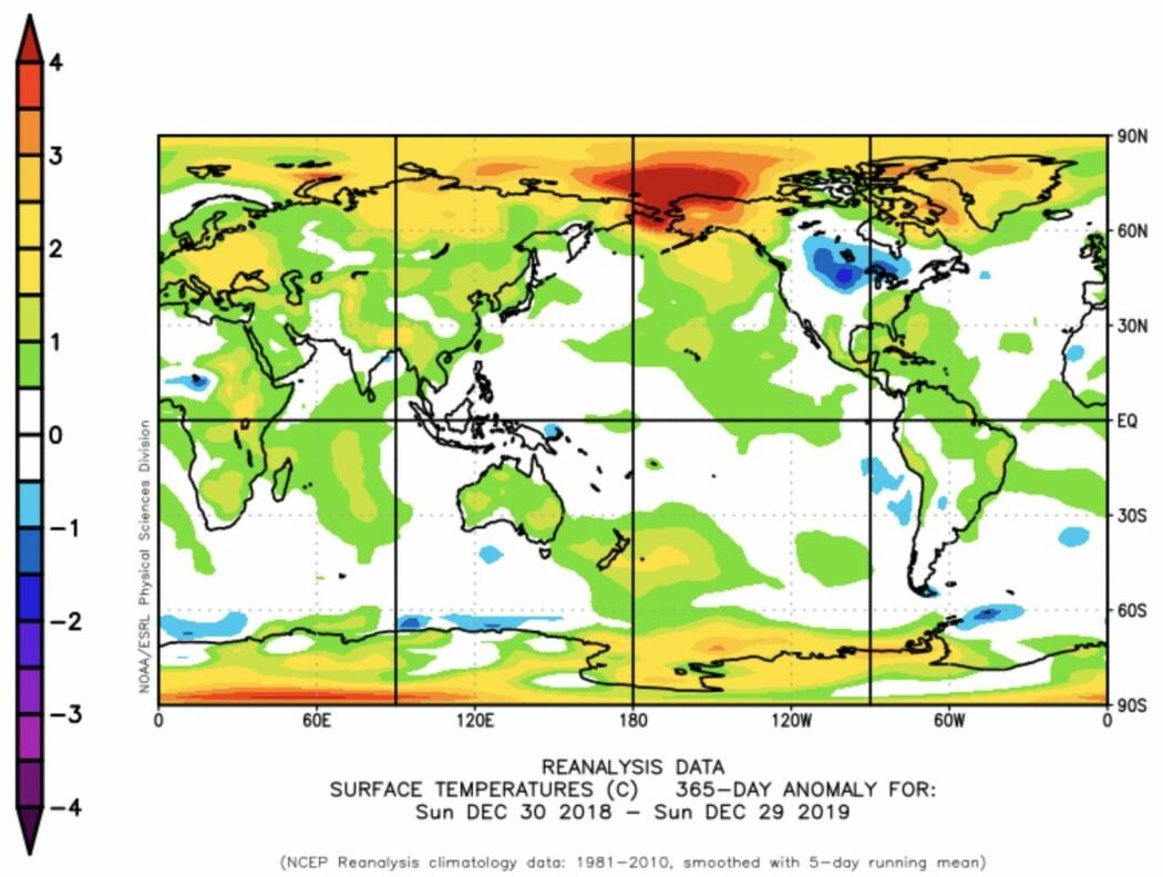 2019 ble et meget varmt år for kloden vår (unntatt Minnesota og Nord-Dakota). (Bilde: NOAA/ESRL)