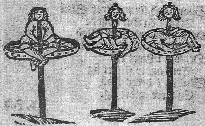 På 1700-tallet mente man Gud krevde dødsstraff for mord. Som en del av dødsstraffen skulle morderen stilles på ut et stort hjul – «hjul og steile». På tresnittet er en forbryter blitt lagt levende på hjul og steile. To andre er blitt halshogd først. (Foto: (Bilde: København 1727, Det kongelige bibliotek))