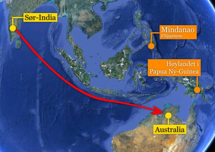 Kan indiske sjøfarere ha reist til Australia lenge før vår tidsregning? Genstudie tyder på på kontakt mellom kontinentene. Indere i dravidisk-talende områder i sør av landet og aboriginere i Australias Northern Territory deler gensignatur. (Foto: (Kart: Google Maps/tilpasset forskning.no/Per Byhring))