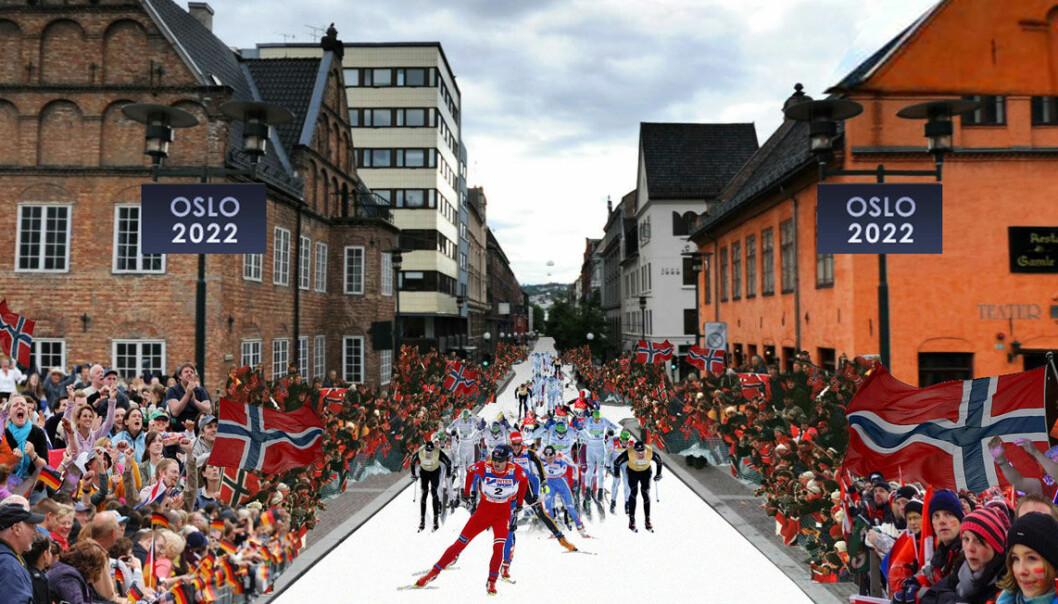 Slik kan det komme til å se ut i Oslo sentrum i 2022, men det er slett ikke sikkert at det lar seg gjøre uten ganske mange lass med snø fra Finse. (Illustrasjon: Oslo2022/PBE)