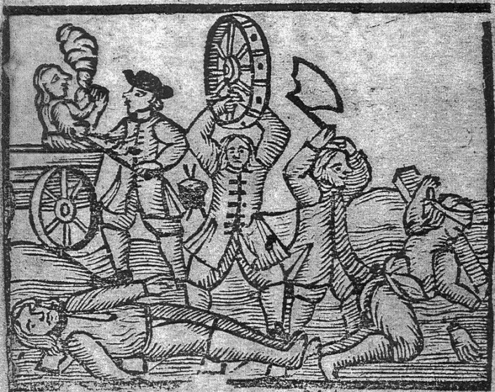 Straffene for selvmordsmord var grusomme. Man ble pint med glohete tenger (i bakgrunnen til venstre), fikk smadret bein og armer med et vognhjul (foran) eller hugget av en hånd (til høyre). (Foto: (Bilde: Fra et blad med skillingsvisen «En gandske nye Viise om det forskreckelige Mord, som af trende Fodguardere ...» København 1727, Det kongelige bibliotek))