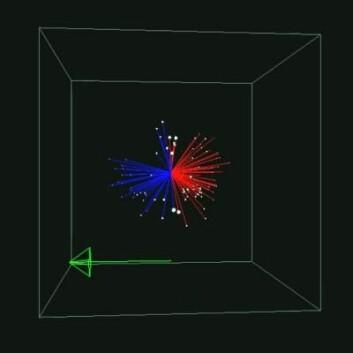 Her kan du se hvordan stjerne-eksplosjonen ser ut. Den grønne pilen viser retningen mot jorden. (Foto: (Illustrasjon: Liimets at al./ApJ))