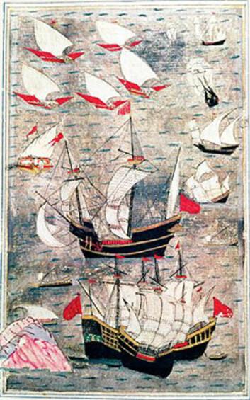 Den ottomanske flåten i Det indiske hav i det 16. århundre. (Foto: (Bilde: Ukjent ottomansk maler fra det 16. århundre, Wikimedia Commons))