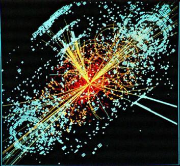 """""""Simulasjon av hvordan det kan se ut hvis Higgs-partikkelet viser seg. (Foto: CERN)"""""""