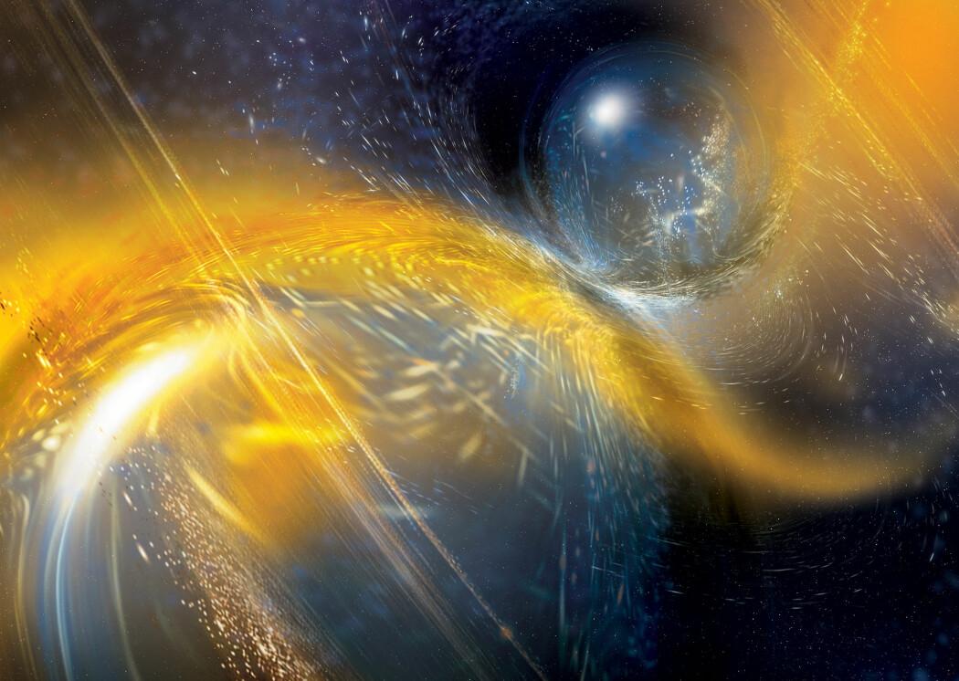 Slik ser en kunstner for seg at en kollisjon og sammensmelting mellom to nøytronstjerner kan se ut.