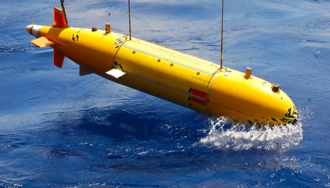 Utsetting av ein sjølvgåande undervassfarkost som kan brukast til miljøovervaking i samband med CO2-lagring i stor skala under havbotnen.