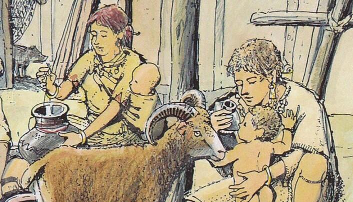 Her har en kunstner tegnet en baby som får melk av tutekopp. Kanskje var det slik det så ut i bronsealderen.
