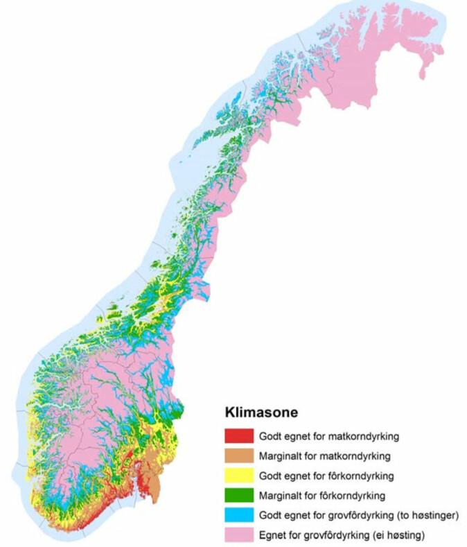 Geografisk fordeling av agroklimatiske soner i Norge som beskriver dyrkingsforholdene i de forskjellige delene av landet.