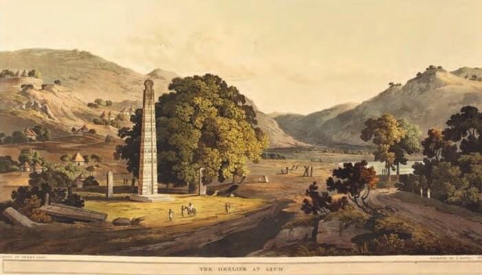 Obeliskene slik de så ut i 1805, sett av den britiske egyptologen Henry Salt. Da sto bare en av obeliskene igjen, resten hadde falt ned. Den samme står fortsatt i dag.