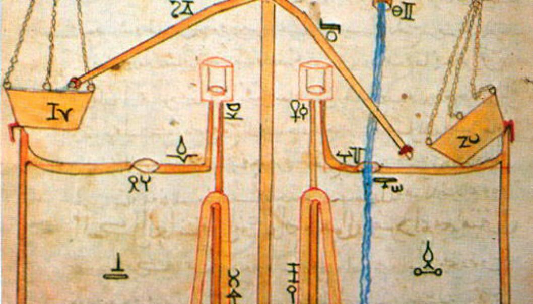 Diagram av vanndrevet vanningsanlegg av Al-Jazari. (Bilde: Wikimedia Commons)