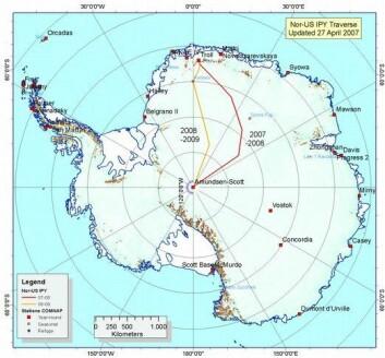 Kartet viser Antarktistraversen, hvor de norske og amerikanske forskerne skal bevege seg. (Illustrasjon: Norsk Polarinstitutt)
