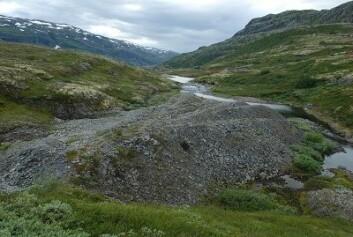 """Steintipp ved Sletterust i Årdal kommune i Sogn og Fjordane fra ca. 1927. Legg merke til hvordan steinmassene er kjørt ut i """"fingre"""". Denne steintippen regnes som kulturhistorisk verneverdig. (Foto: Knut Rydgren)"""