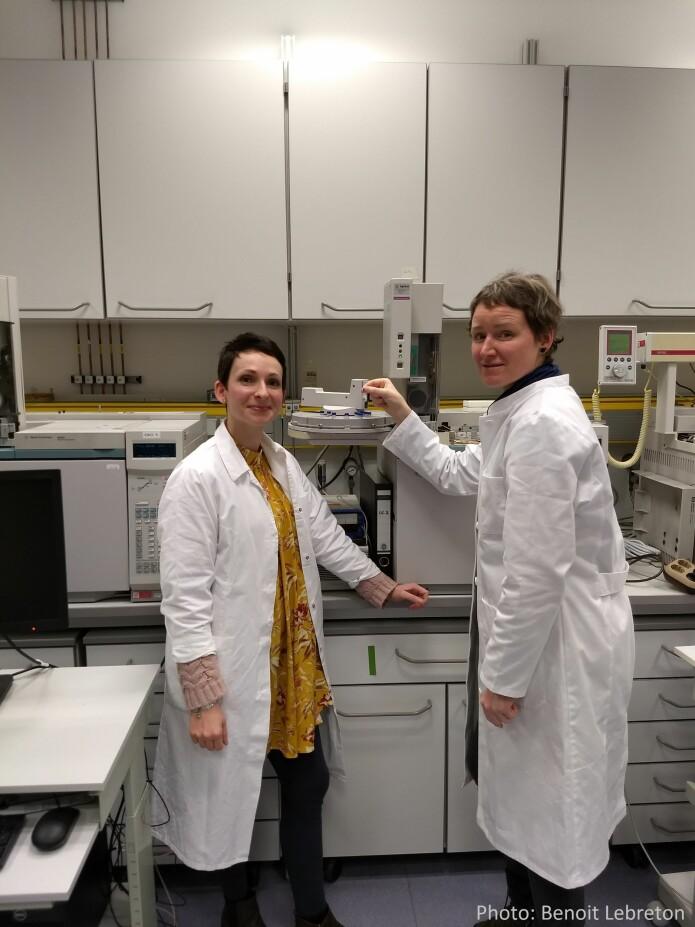 Doreen Kohlbach og Angela Stippkugel setter inn det fyrste glaset med feittekstrakt inn i gasskromatografen
