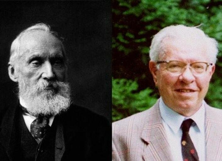 Fysikar Lord Kelvin og astrofysikar Fred Hoyle var anerkjente forskarar som forsvarte teoriar ingen lenger trudde på. (Foto: Wikimedia Commons/Cardiff University/montasje NRK)