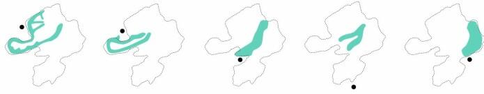 Innenfor et beitelagsområde kommer de fem ulike saueflokkenes beitemønster tydelig fram. Sort prikk markerer gårdenes beliggenhet. Saueflokkene som møter flest turister er de to første, som beiter på Haukland og Uttakleiv, og de mest trafikkerte turstiene går gjennom beiteområdet til disse to saueflokkene som tilhører gårder på Uttakleiv.