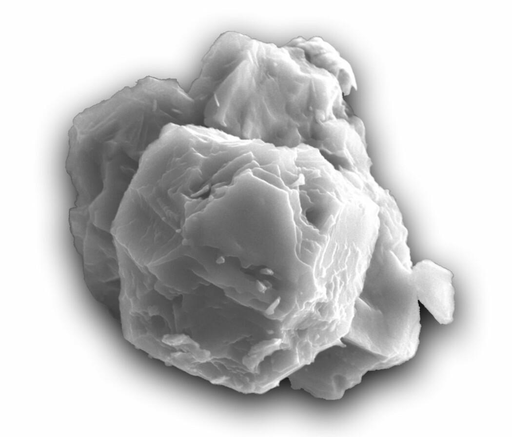 Det urgamle støvkornet er her sett gjennom et elektronmikropskop, og er i virkeligheten rundt åtte millionerdeler av en meter bredt.