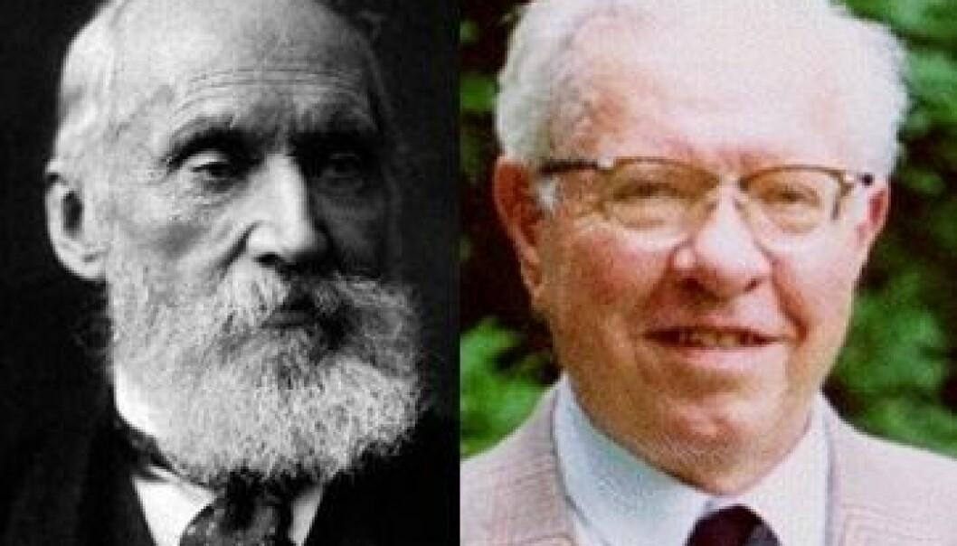 Fysikar Lord Kelvin og astrofysikar Fred Hoyle var anerkjente forskarar som forsvarte teoriar ingen lenger trudde på. Wikimedia Commons/Cardiff University/montasje NRK