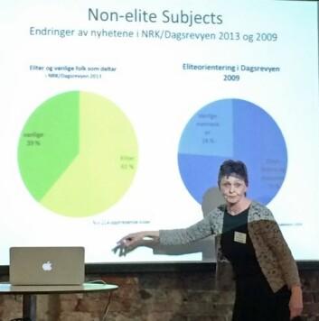 Turid Øvrebø presenterte resultater fra ti års forskning på kjønn og media under Nordic Gender and Media Forum i Bergen tidligere i mai. (Foto: Ida Irene Bergstrøm, Kilden)
