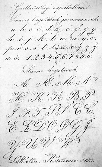 Lars Hætta og Anders Bær lærte å skrive i fengsel som voksne. Her har Hætta sirlig notert bokstavene, fire år før han slapp ut i 1867.