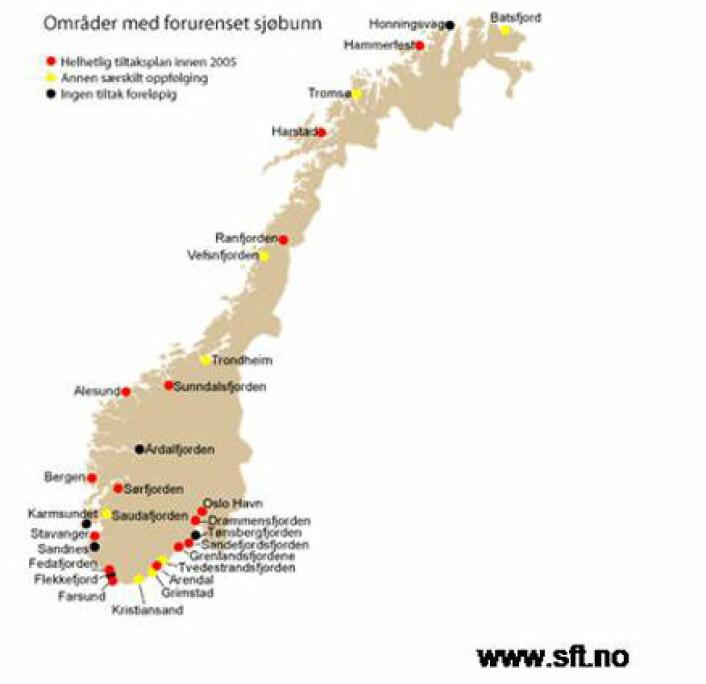 """""""Oversikt over områder med forurenset sjøbunn i Norge"""""""