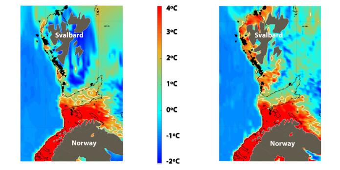 Målinger viser at vanntemperaturen på bunnen av havet utenfor Svalbard varierer mye fra vinter til sommer.