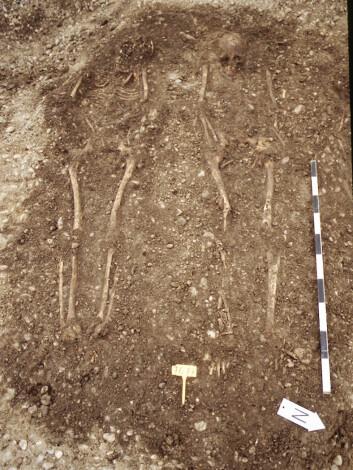Levningene etter to ofre for den justinianske pesten. (Foto: M. Harbeck, University of Munic)