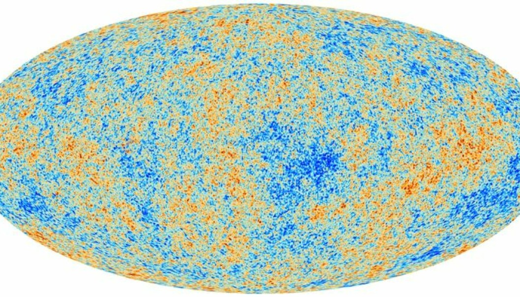 Det første bildet av den kosmiske mikrobølgebakgrunnen tatt av Planck. Fargene representerer ørsmå variasjoner i temperatur. Disse var kilden til alle strukturerer i universet. Grafikk: ESA/The Planck Collaboration ESA, Planck Collaboration