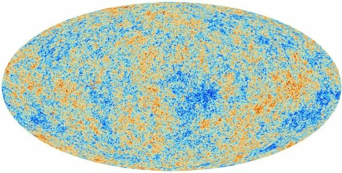 Det første bildet av den kosmiske bakgrunnsstrålingen tatt av Planck-satellitten. Dette er det mest nøyaktige bildet av det tidlige univers som noen sinne har blitt tatt. De ulike fargene representerer ørsmå variasjoner i temperatur. (Foto: ESA, Planck Collaboration)