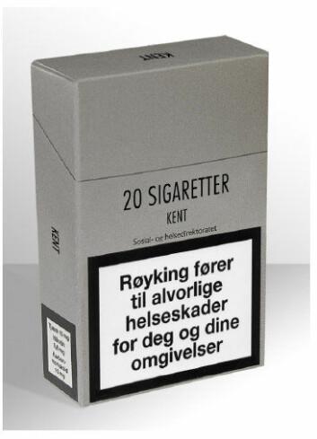 En nøytral sigarettpakke uten farger, logo og skrifttyper. (Foto: SIRUS)