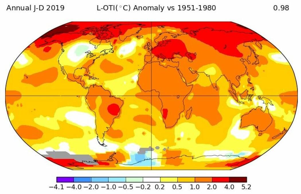 NASA: 2019 var det nest varmeste året på over 100 år