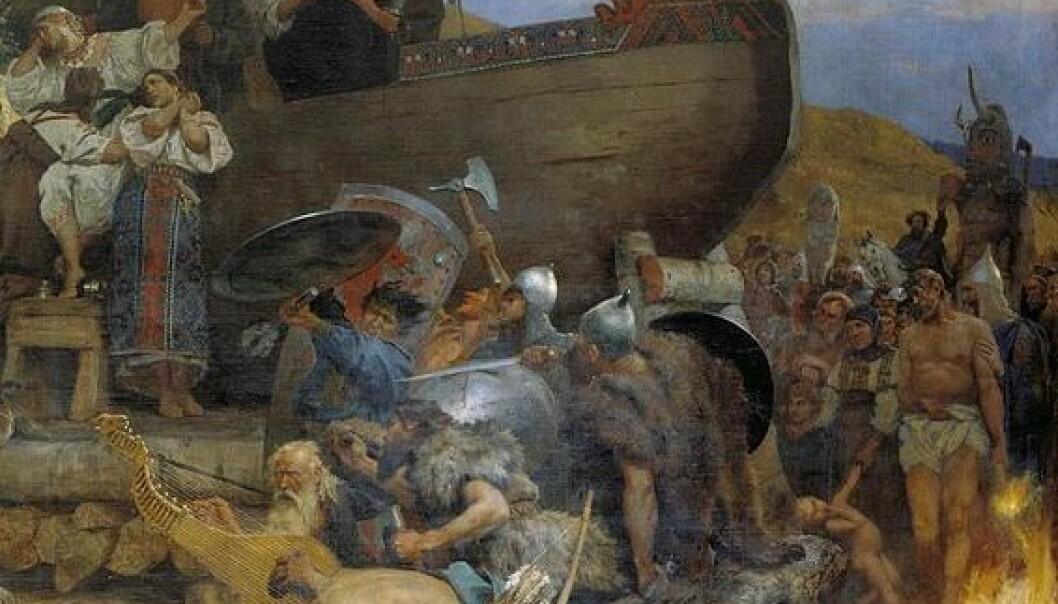 Den polske maleren Henryk Siemiradzki har malt begravelsesritualet til østadfarende vikinger, etter beskrivelsene fra Ahmad ibn Fadlan. Nye analyser viser at hans og andre araberes tekster er en ypperlig kilde til kulturkunnskap om vikingene som reiste østover. (Bilde: Wikimedia Creative Commons)