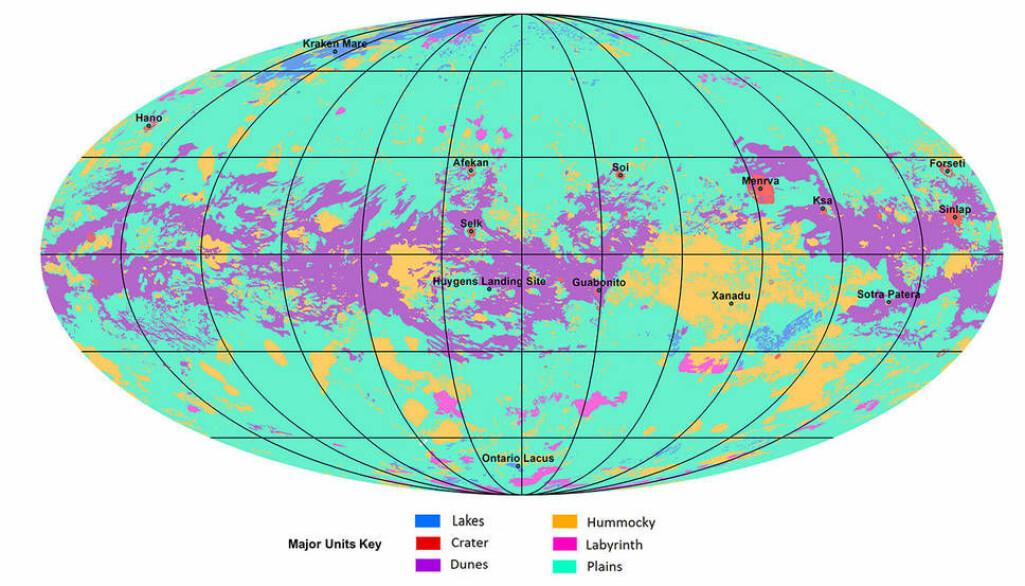 """Her kan du se en versjon av kartet som forskerne har laget. De grønne områdene er flate sletter. Lilla er sanddyner. Gul er fjell. Blå er innsjøer. Rosa er """"labyrint-landskap"""". Rødt er kratere."""